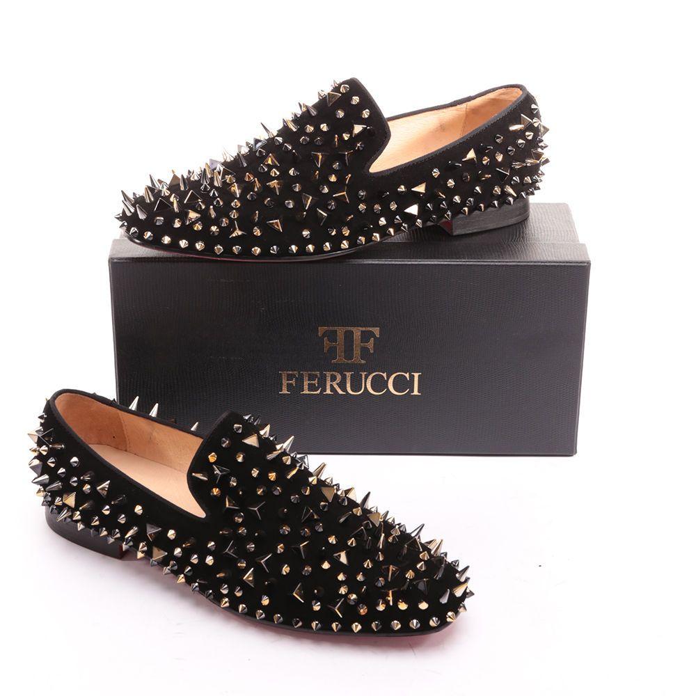 Men Ferucci Black Velvet Slippers Loafers Flat Gold Spikes Rivet Wedding Prom Black Velvet Slippers Gold Dress Shoes Gold Prom Shoes [ 1000 x 1000 Pixel ]