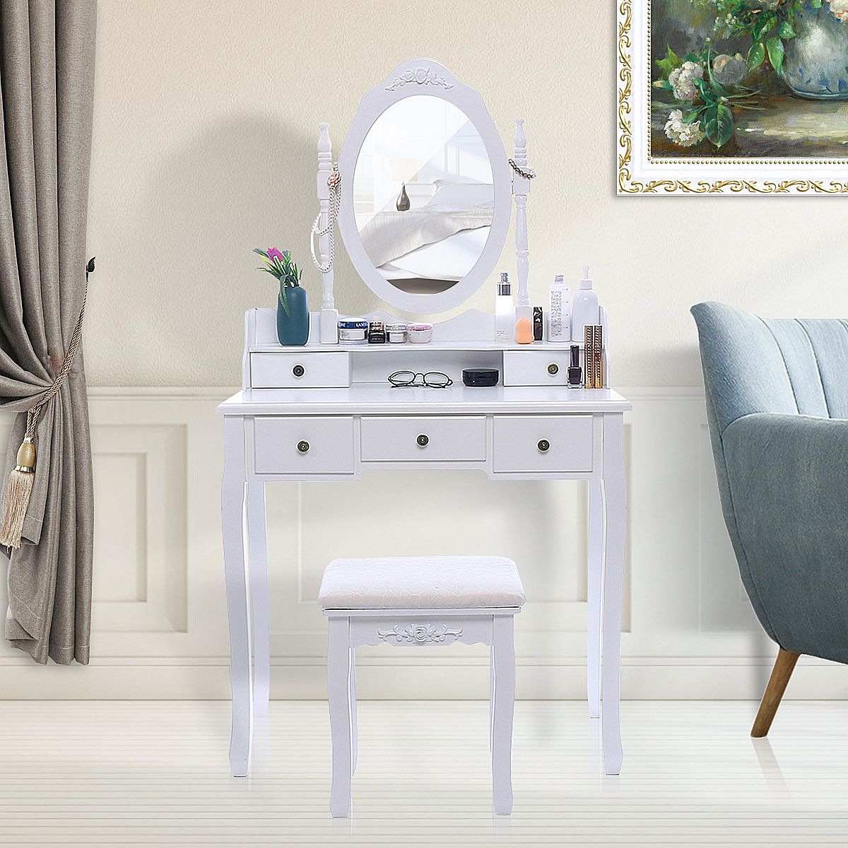 Vanity Wood Makeup Dressing Table Stool Set Bathroom With Mirror 5 Drawers White In 2020 Dressing Table With Stool Sturdy Furniture Dressing Table Set