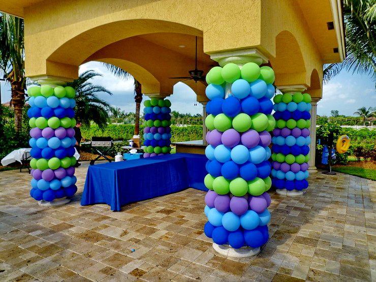 Pillars Wrapping By Balloons Outdoor Www Dreamarkevents Com Columnas De Globos Globos Para Fiestas Decoracion Con Globos