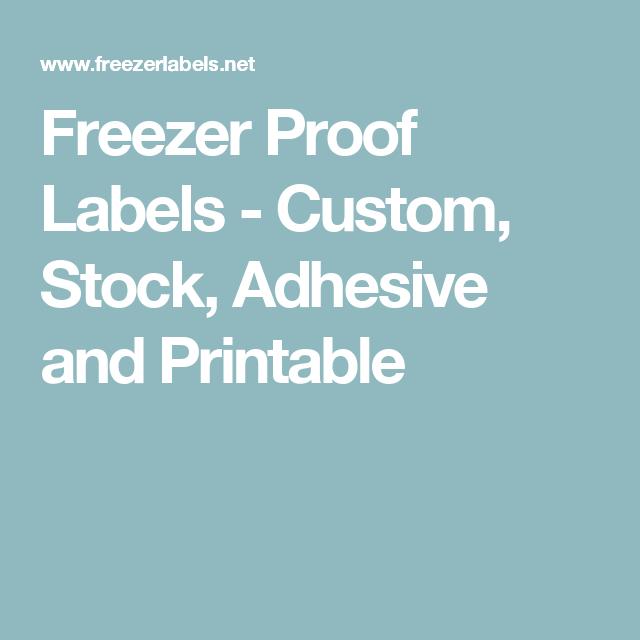 Freezer Labels Printable