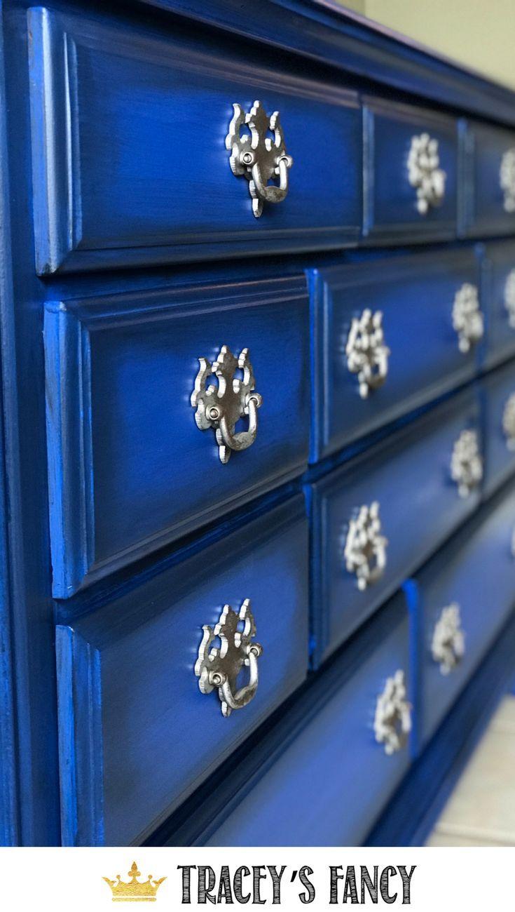 Cobalt Blue Dresser with Metallic Handles | Blue painted furniture ...