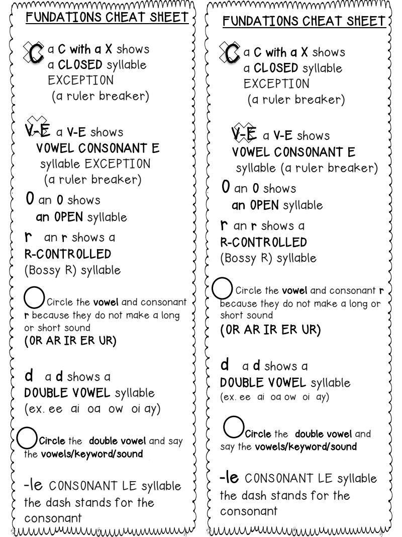 Fundations Marking Words bookmark cheat sheet