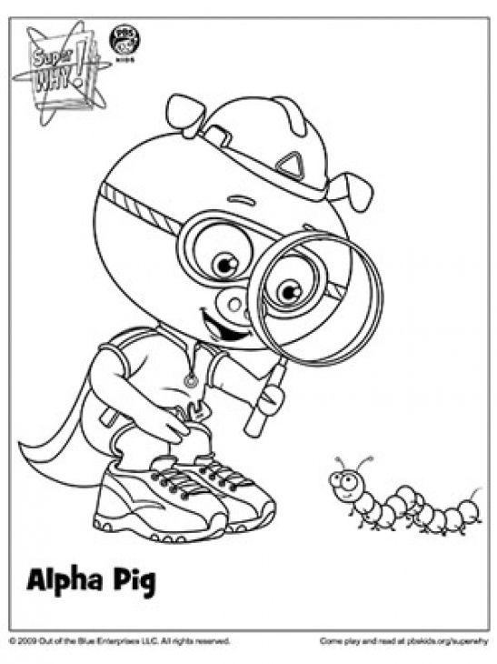 alpha pig using his magnifying glass in super why coloring page