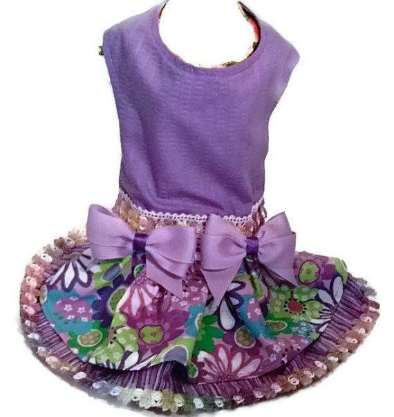 X Small Handmade Dog Harness Dress Purple Flowers by ayChihuahua