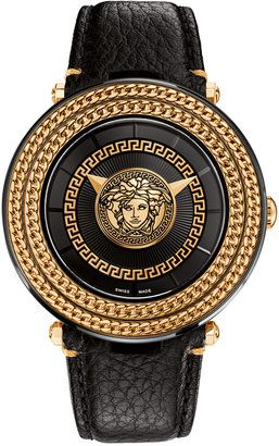 1eed1e42745c Versace Men s Swiss V-Metal Icon Black Leather Strap Watch 46mm VQL030015