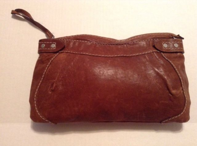 Euc Ruehl No 925 Rugged Natural Leather Handbag Purse Clutch Camel Brown Ebay