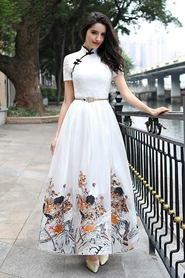 731d5c46e2 Long Fashion Style Cheongsam Surplice Prom Dress With Vent ...