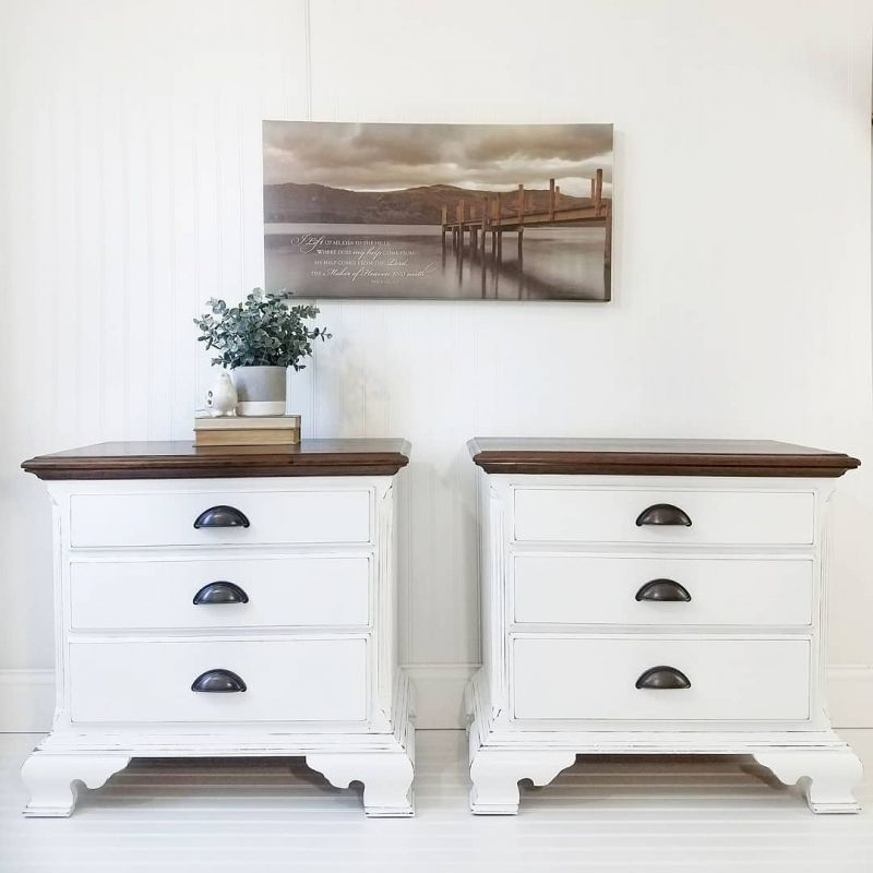 Farmhouse Nightstands In Snow White Painted Bedroom Furniture
