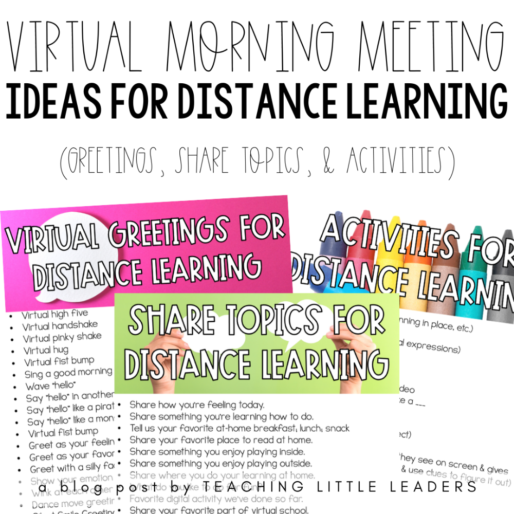 Virtual Morning Meeting Ideas for Distance Learning in