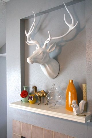 Fireplace Progress Faux Deer Head And Gift