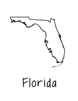 Florida State Map Coloring Page. Use this coloring page