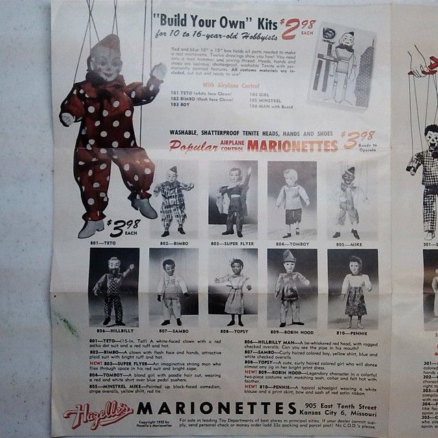 Back cover of 1953 Hazelle's product catalog. This page features 801 Teto, the marionette with which this brochure came.