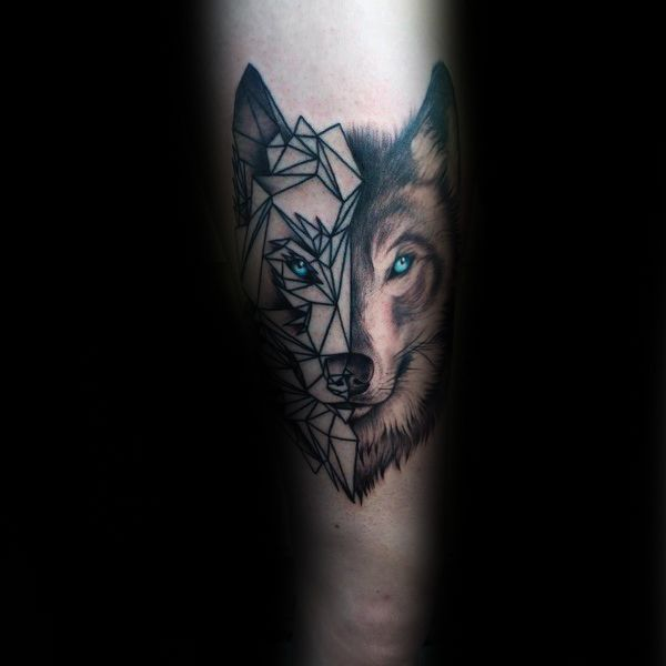 90 Geometric Loup Tattoo Designs For Men \u2013 Idées Manly encre