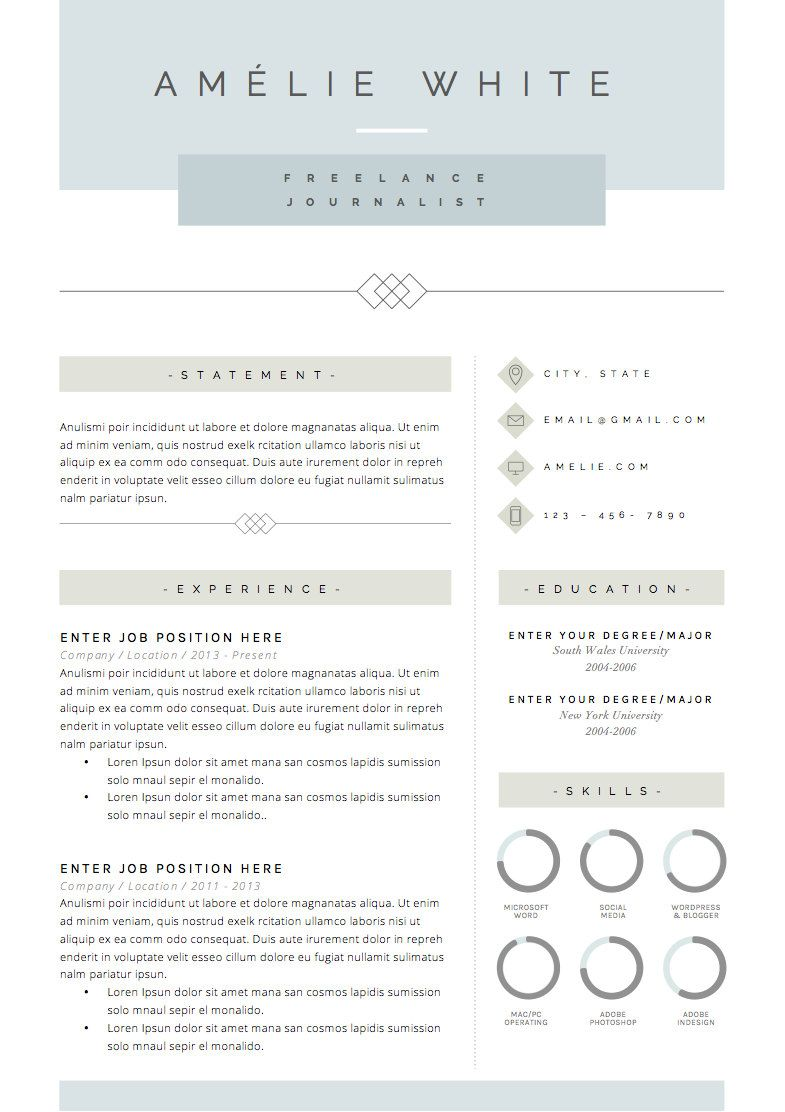 Resume Template 4 pages | CV Template + Cover Letter for MS Word ...