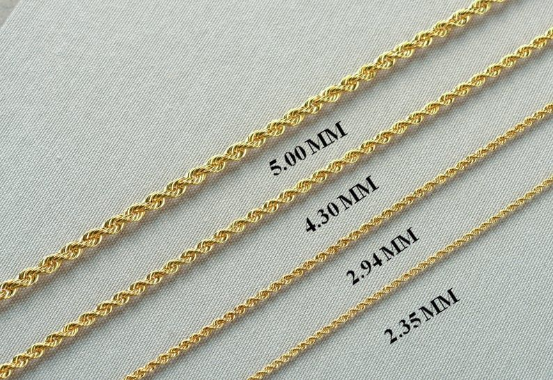 14k Gold Rope Chain Necklace Gold Women Chain Hollow Gold Etsy Real Gold Chains Gold Necklace Women Gold Rope Chains