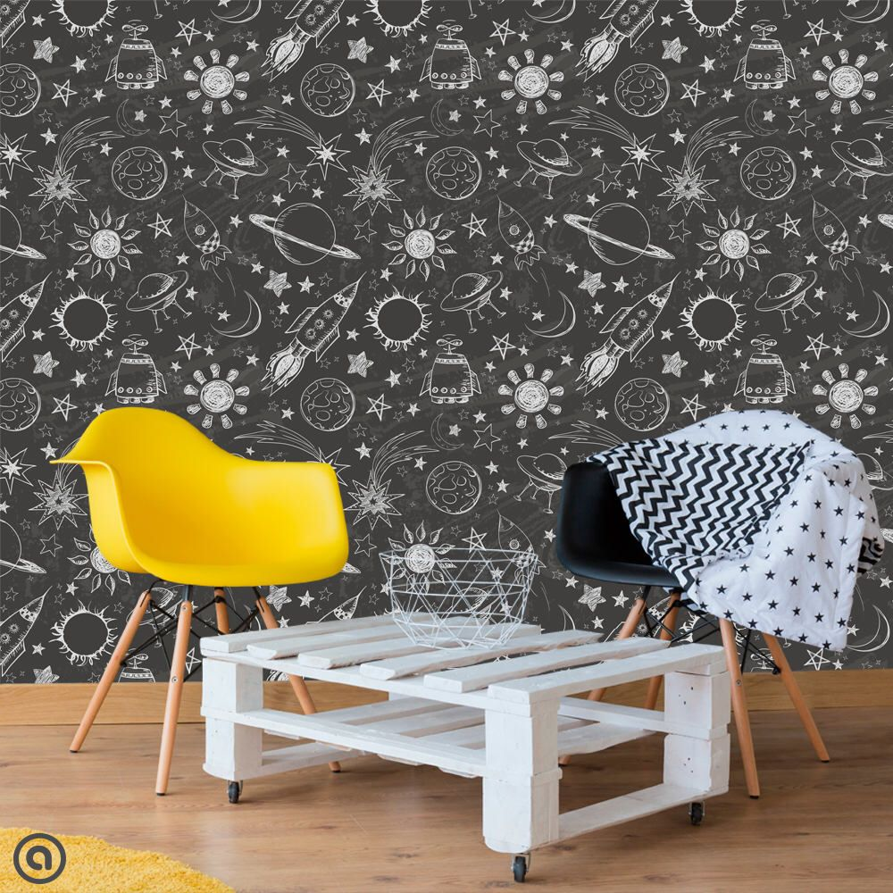 Kids Room Removable Wallpaper Outer Space Simply Peel And Etsy Removable Wallpaper Kids Room Kids Wallpaper