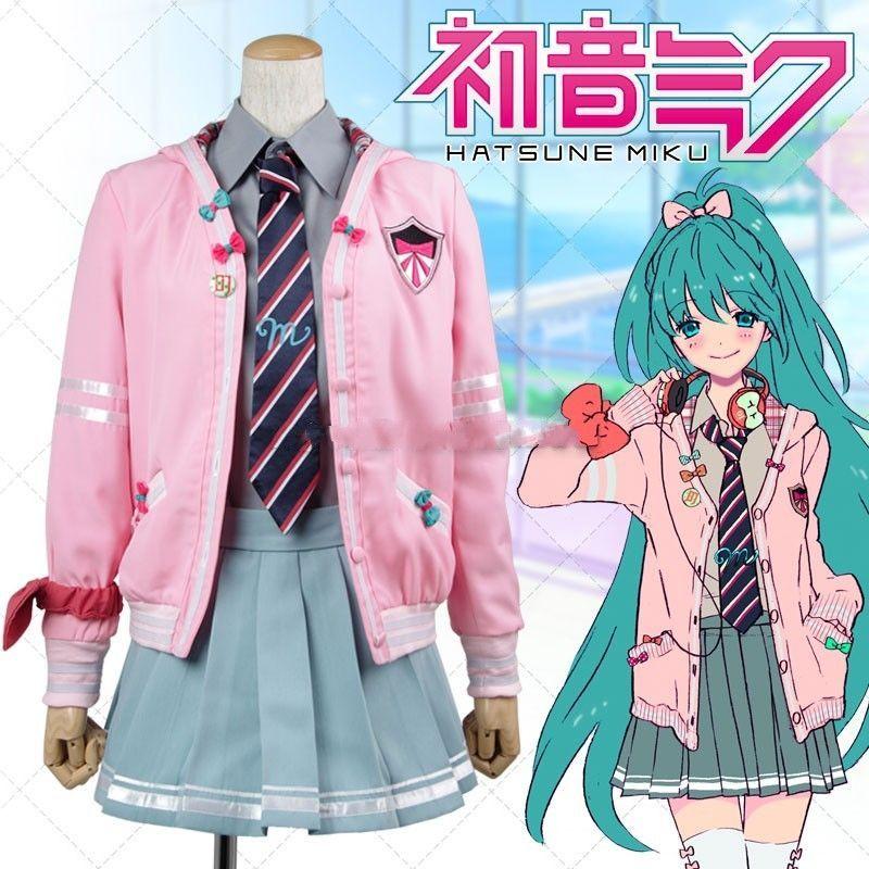 Hatsune Miku Fancy Dress JK Uniform Cosplay Full Set Costume Tops Women Anime