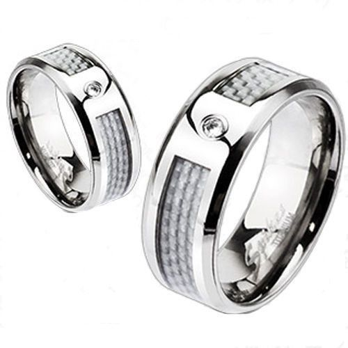 Titanium Wedding Engagement Band White Silver Carbon Fiber Inlay CZ Center Ring