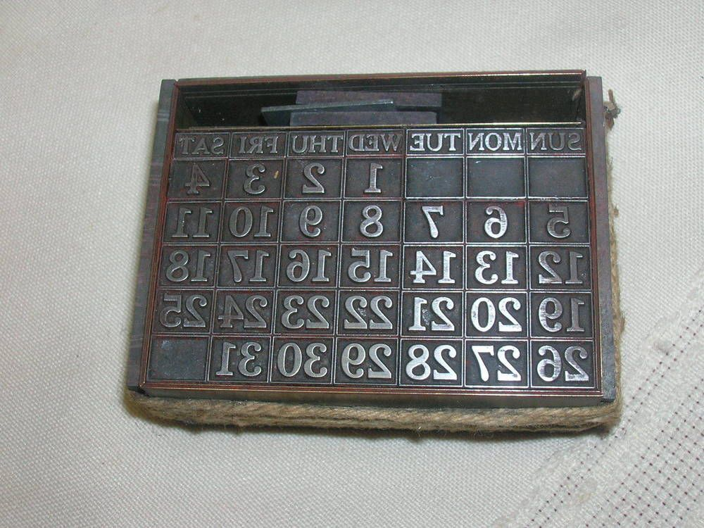 Vintage Letter Press  Day Calendar Stamp Printing   X