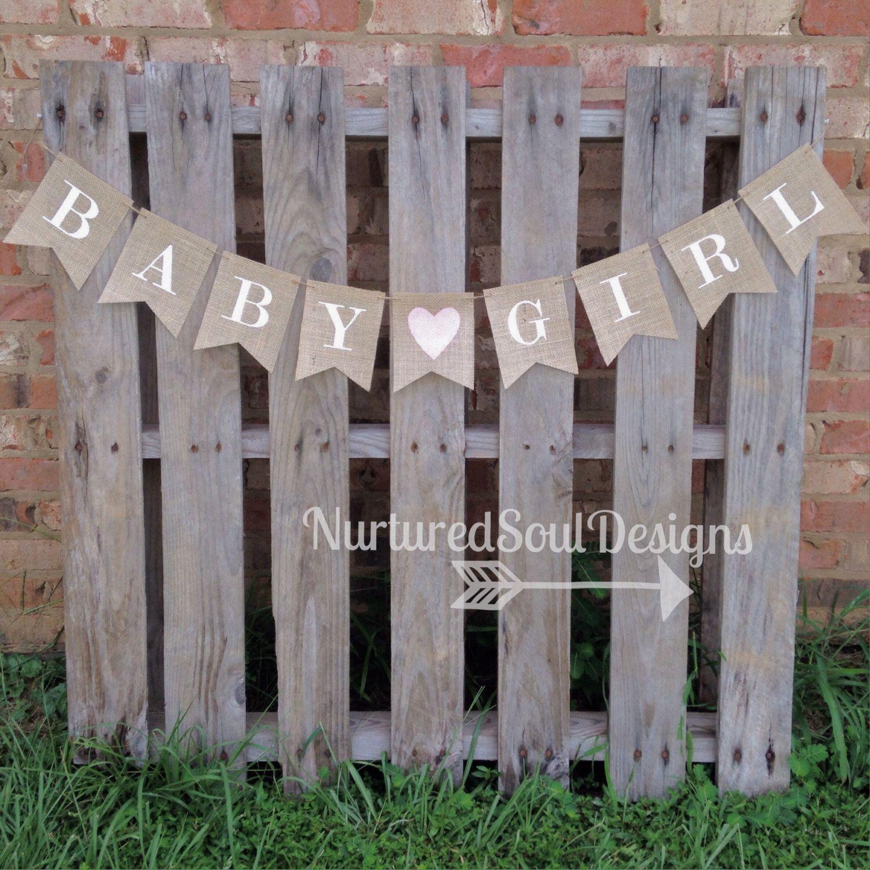 Baby Girl Burlap Banner/ Baby Shower Bunting/ Burlap Baby Shower Banner/  Rustic Baby Shower / Vintage Baby Shower Theme/ Baby Sprinkle