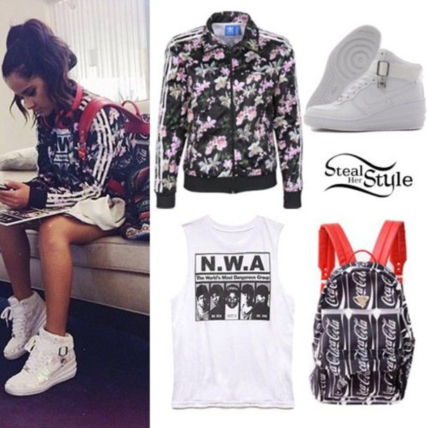 jacket becky g t-shirt bag shoes adidas jacket adidas floral jacket high  top sneakers