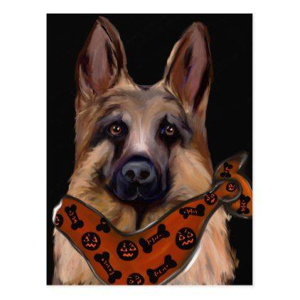German Shepherd Halloween Postcard - Halloween happyhalloween festival party holiday