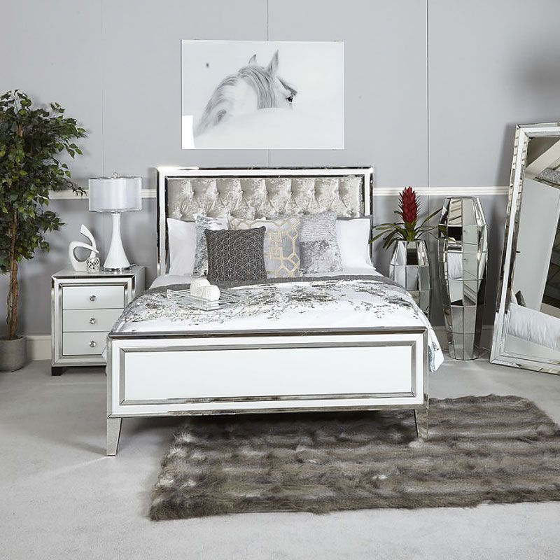 Madison White Mirrored King Size Bed Frame Picture Perfect Home King Size Bed Frame Bed Frame Mirrored Bedroom Furniture