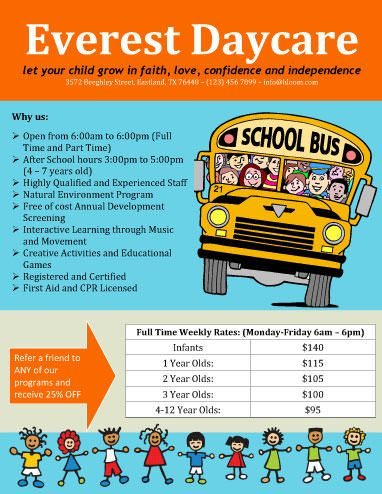 Full Time Daycare Flyer  Free Flyer Template By HloomCom  Flyers