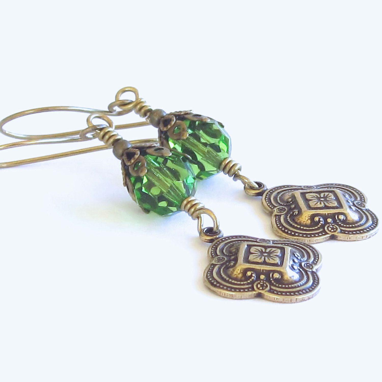 Brass Earrings Green Swarovski Crystals Engraved Four Leaf Clovers Victorian Earrings Gift For Her Trending Earrings by Ctbydonna on Etsy
