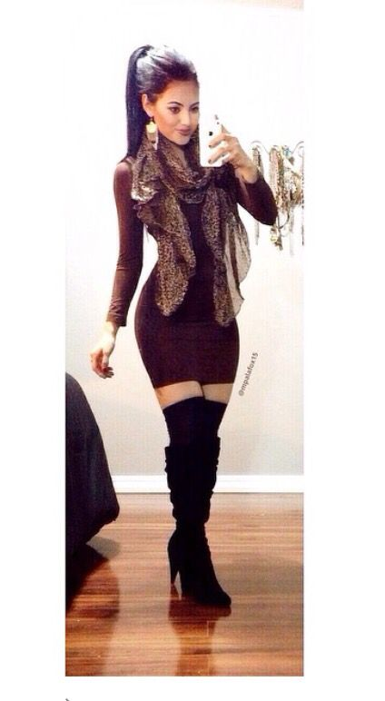 Burgundy long sleeve bodycon dress with knee high boots ...