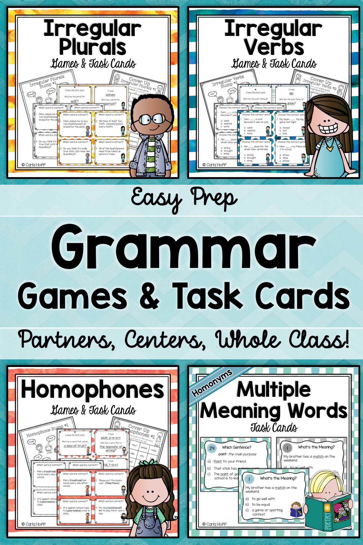 Grammar Games Bundle Homophones Homonyms Irregular Verbs