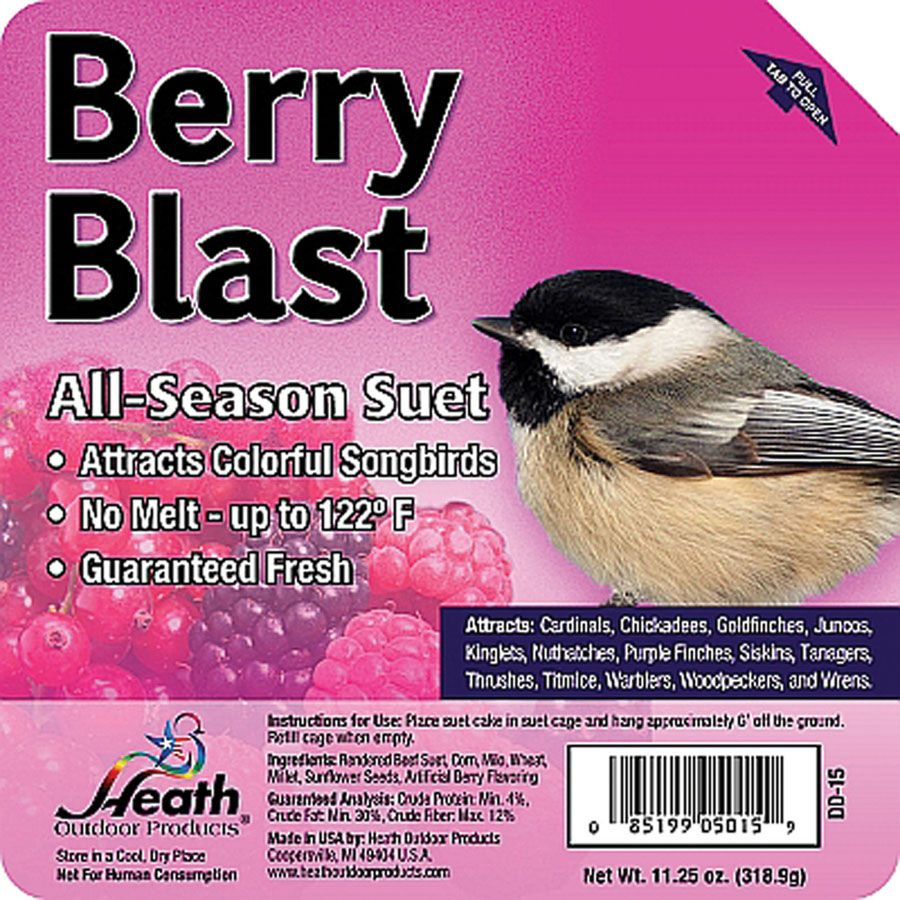 Birds suet cake wild berry by heath 1125 ounce suet