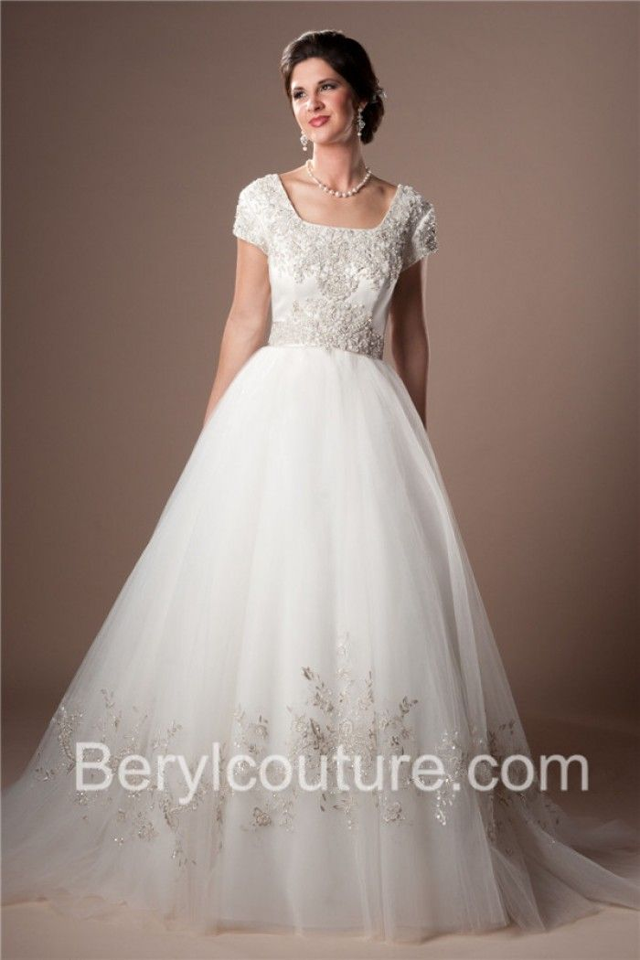 Classic Ball Gown Square Neckline Satin Tulle Lace Beaded Modest ...
