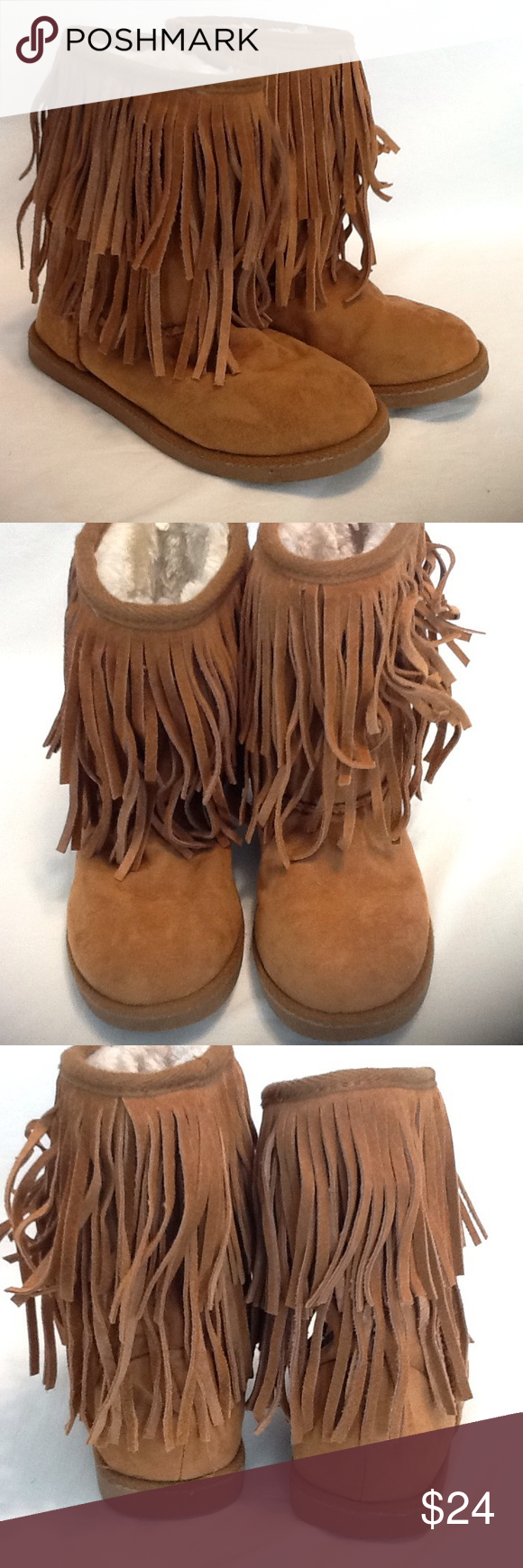 37ae4592d Justice Brown Fringe Girls Boots used size 3 These boots are in excellent  condition, upper man made material , leather fringe , faux fur lining ,  worn very ...