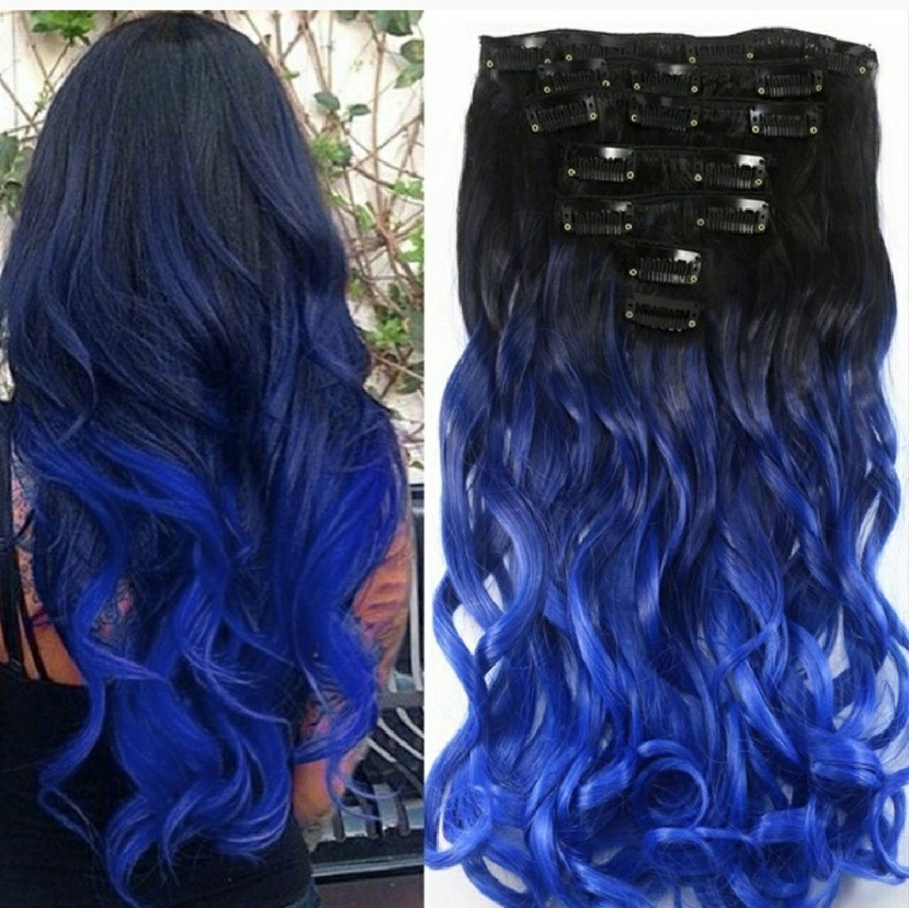 Black Blue Full Head Clip In Extension Products Pinterest Clip