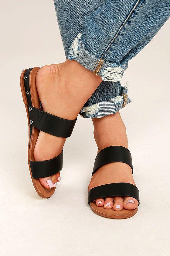 247ef737546 Steve Madden Dakotas Black Leather Slide Sandals 2