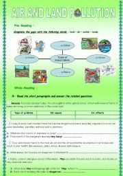 English worksheet: AIR AND LAND POLLUTION***CAUSE/RESULT ...