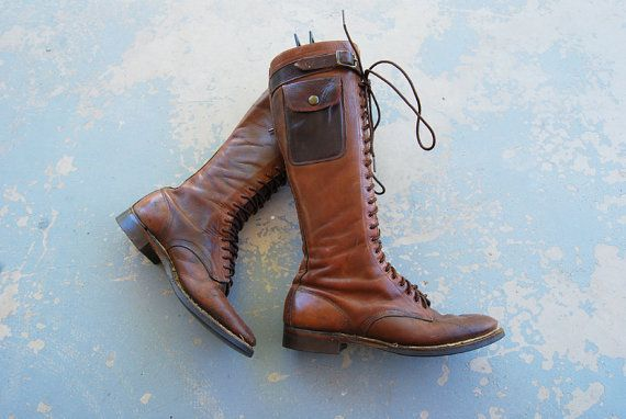3b4977d07e54a vintage 1930s Leather Boots - 30s Lace Knee High Boots - Pocket ...
