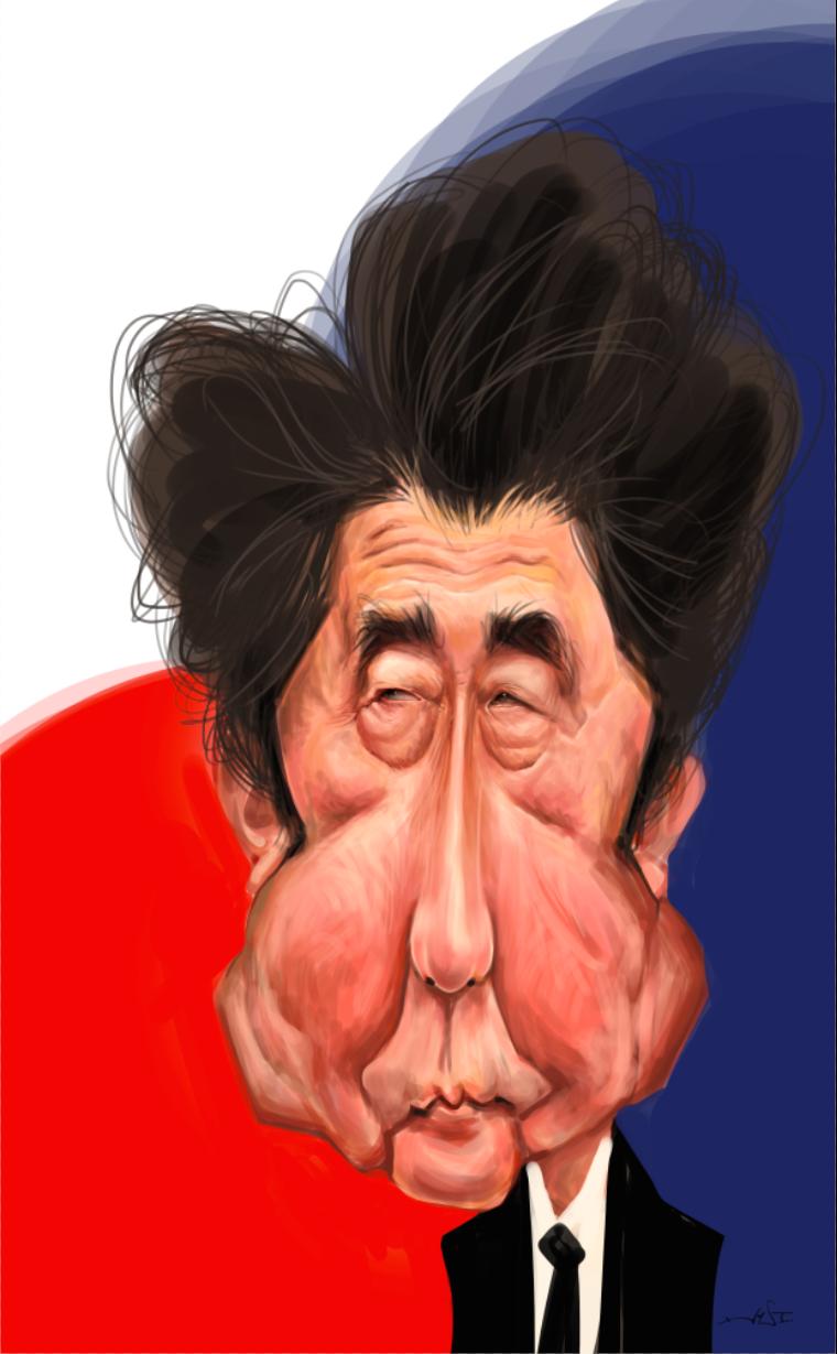 Resultado de imagen para Caricaturas de Shinzo Abe