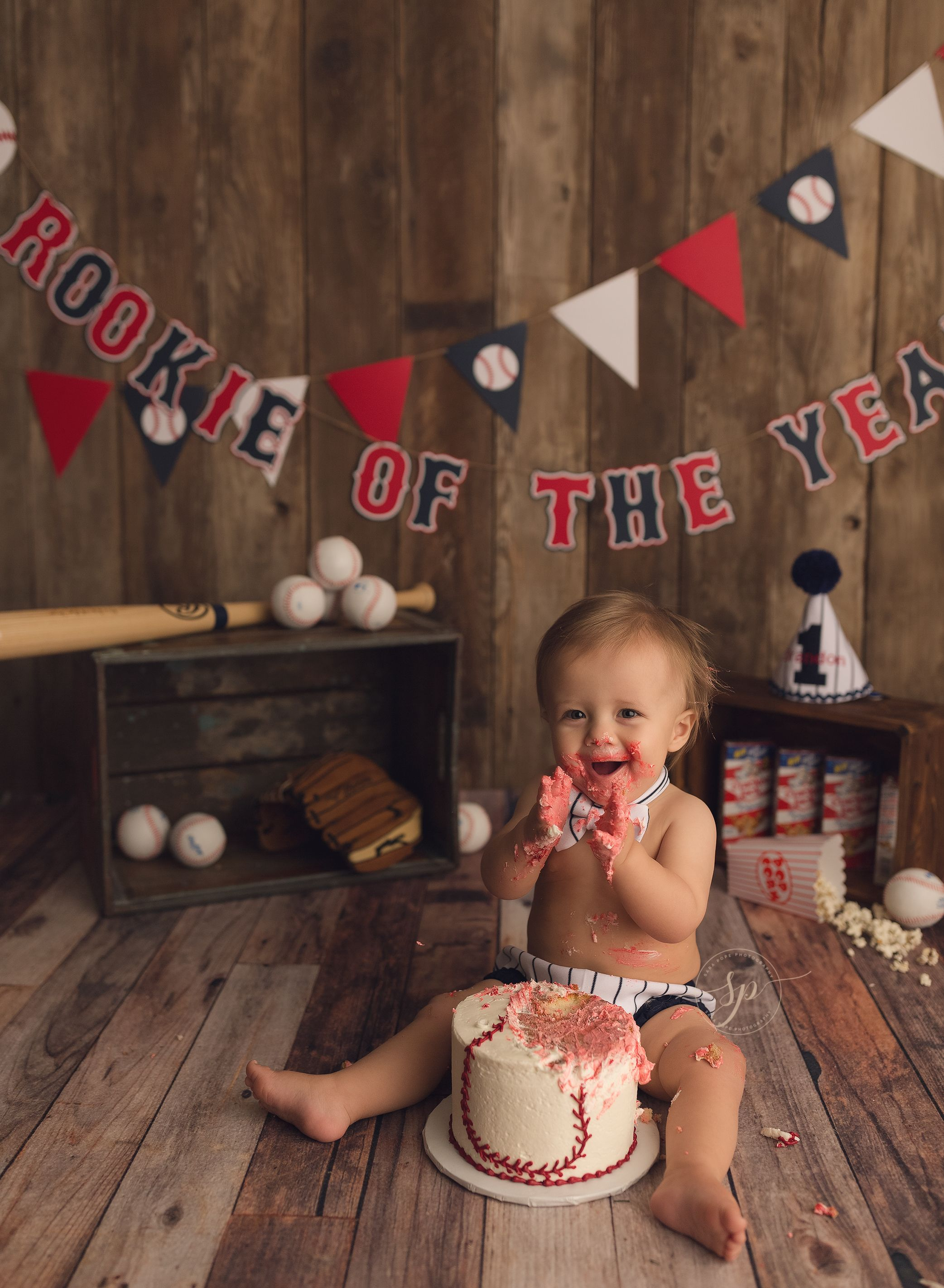 Baseball Themed Cake Smash Rookie Of The Year One Milestone Session Sara Pope Photography Brentwood CA Serving East Bay Area