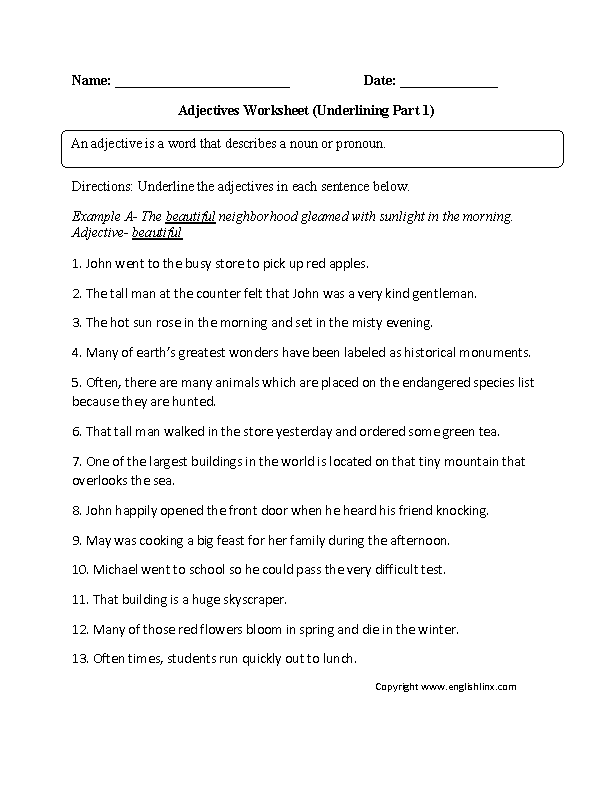 Underlining Adjectives Worksheet Classroom Ideas Pinterest