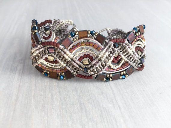 Micro Macrame Bracelet in Silver and Copper by LightWanderings