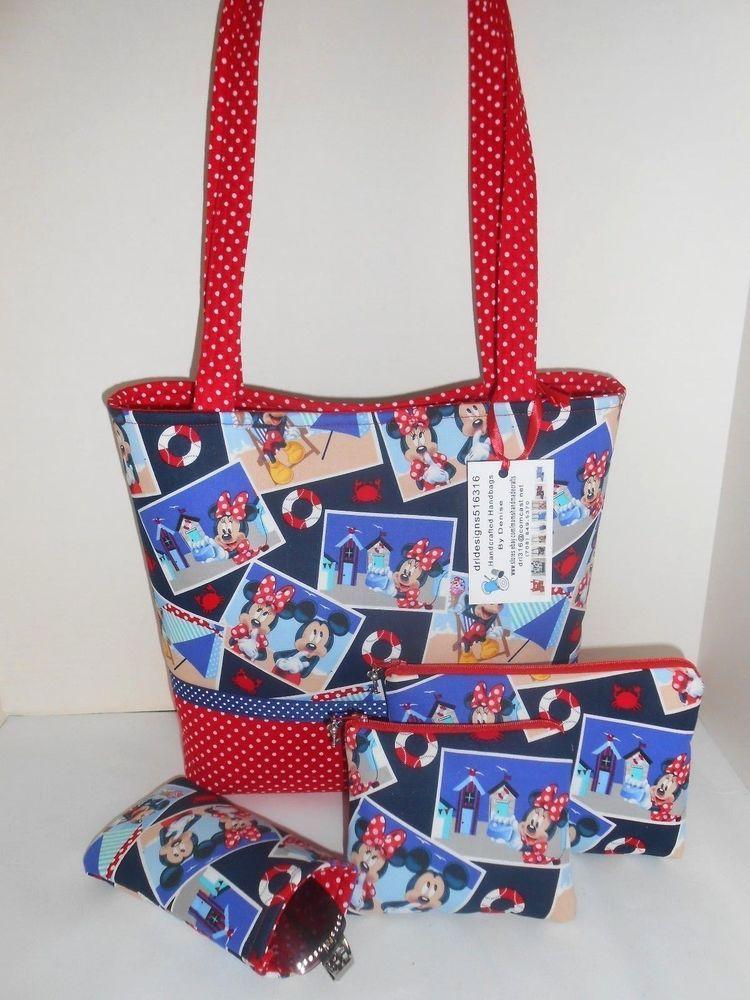 Spring Time Mickey Mouse Minnie Handmade Handbag Purse W Accessories Lg
