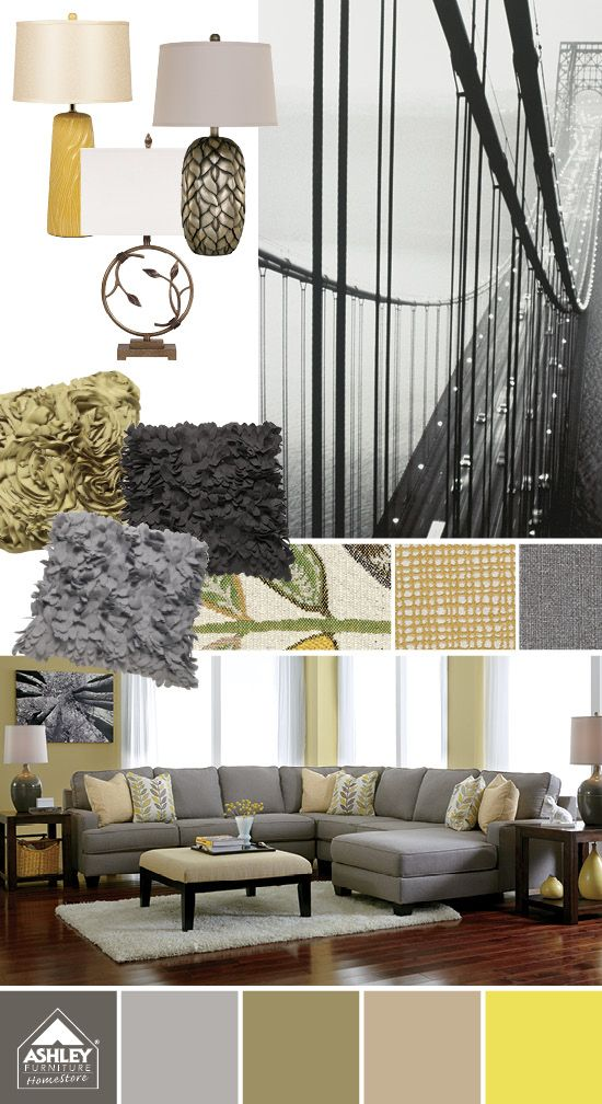 Try yellow green with black gray chamberly sectional - Ashley wilkes bedroom collection ...