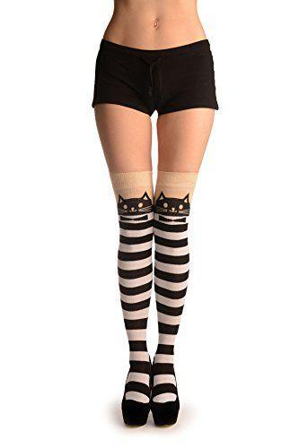 600c812409ce0 Fashion Plus Size: Socks & Hosiery: Cat On Beige With White & Black Stripes  - Over The Knee Socks