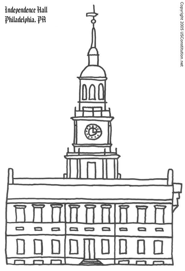 Independence Hall Coloring Page Independence Hall Pennsylvania