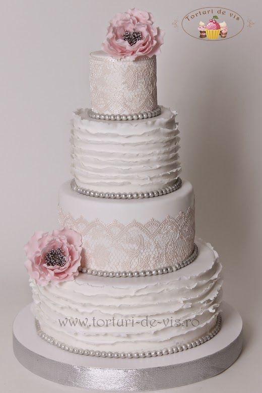 Tort Nunta Ruffles Si Bujori Roz Cake Decorating Peony Cake