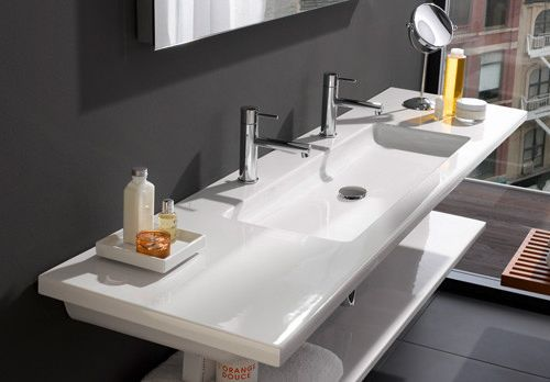 One sink, two faucets. Flat Bathroom Sinks Laufen – Living Square ...