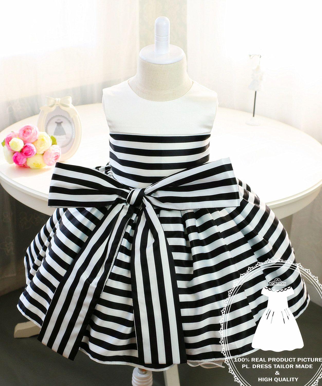 5664c69de0fb Newborn Girl Dress with Black and White Stripes