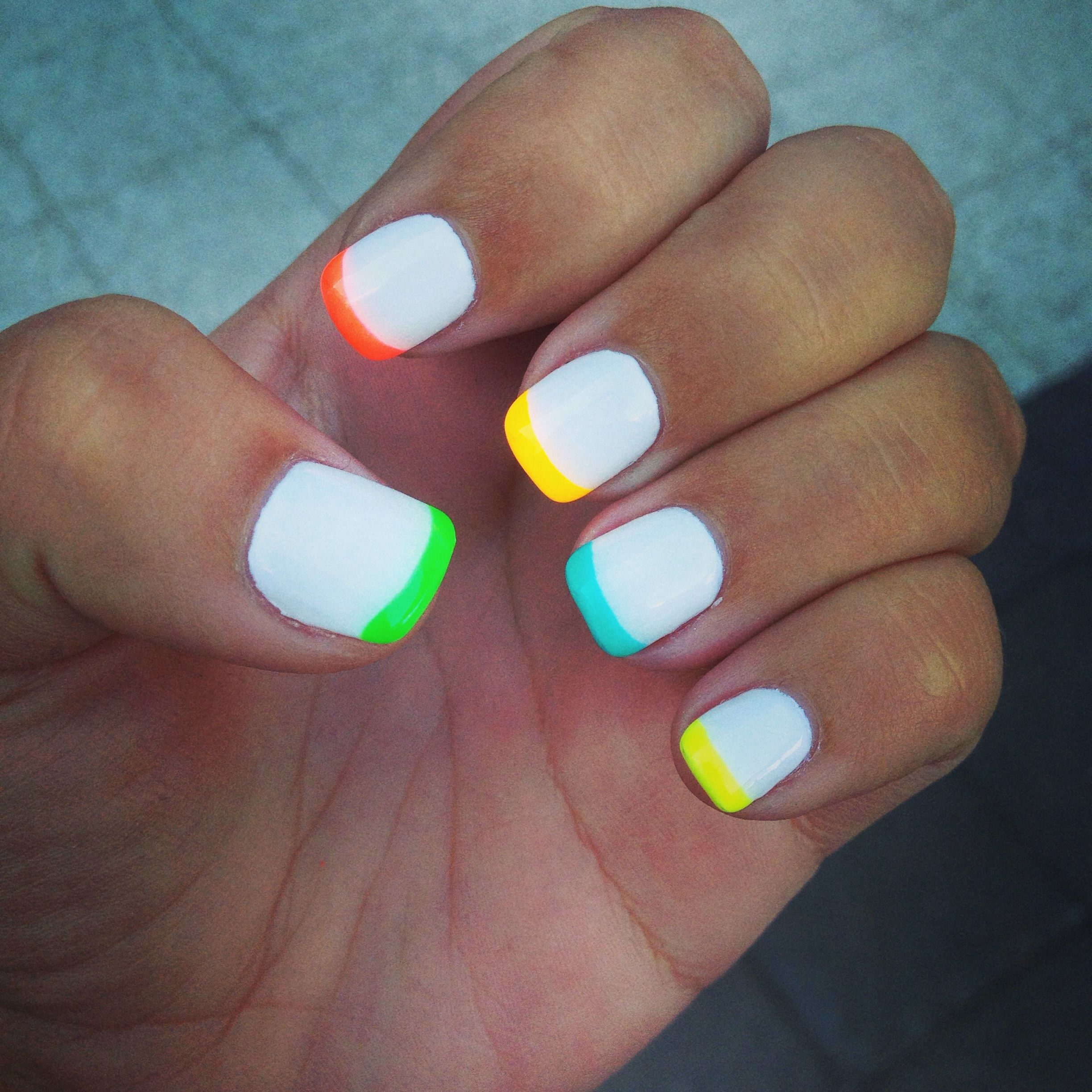 White gel polish with neon tips | Nails!! | Pinterest | Neon, Gel ...